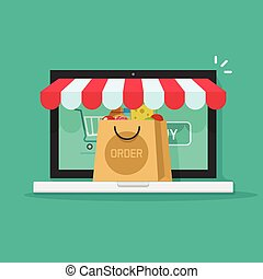 Online order from ecommerce store vector, on-line purchasing concept