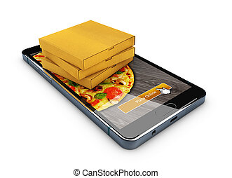 Online order pizza. Smartphone with pizza on the screen and box of pizza. 3d illustration.