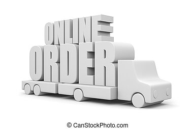 Online order - Transportation concept. Isolated on white
