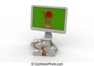 online, pénz, gyártás, fogalom