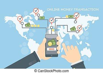 online, pénz, transaction.