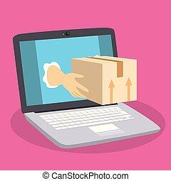 Online Parcel Delivery Laptop - Illustration of hands...