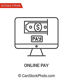 Online Pay Icon. Thin Line Vector Illustration