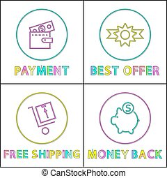 Online payment, best offer and pay back icons - Online...
