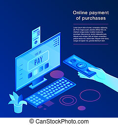 Online payment concept background, isometric style