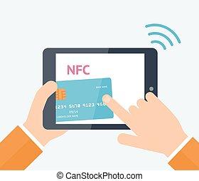 Online payment concept - Flat vector illustration. Mobile...