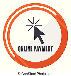 Online payment flat design orange round vector icon in eps 10