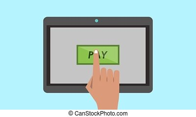 Online payment from tablet HD animation