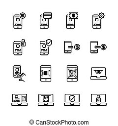 Online payment icon set. Vector illustration