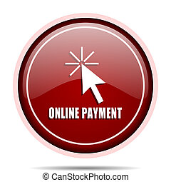 Online payment red glossy round web icon. Circle isolated internet button for webdesign and smartphone applications.