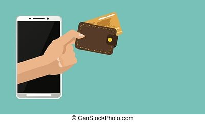 Online payment with credit card HD animation