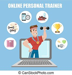 Online personal trainer. Fit man in laptop with dumbbell.