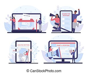 Online petition concept set. Collective public appeal online service.