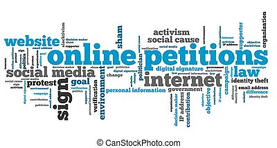 Online petitions issues and concepts word cloud illustration...