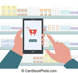 Online pharmacy app on phone screen - cartoon hand pushing Buy now button