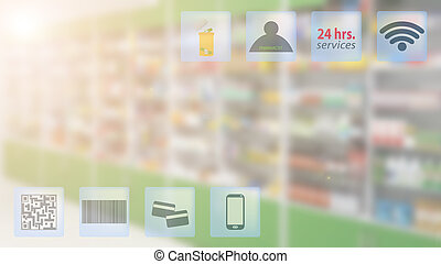 Online pharmacy concept and blur drugstore product display shelves as background.
