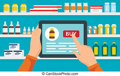 Online pharmacy concept background, flat style