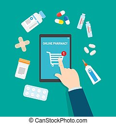 Online pharmacy concept. Vector flat illustration.