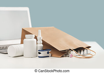 Online pharmacy order and medications delivery. Lockdown