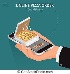 Online pizza. Ecommerce concept - order food online website. Fast food pizza delivery online  service. Flat 3d isometric vector illustration.