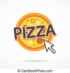 Online pizza order icon. internet arrow on pizza icon.  vector illustration.