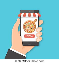 Online pizza ordering concept.