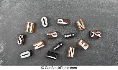 online., planche, bois, craie, lettres, achats