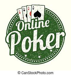 Online poker grunge rubber stamp