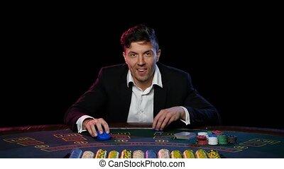 Online poker player winning the tournament. Close up - Poker...