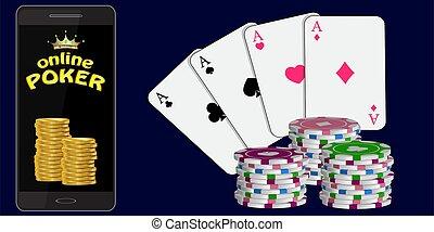 online poker poster on a dark blue background. vector illustration.