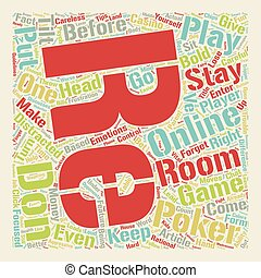 Online Poker Room Psych text background wordcloud concept