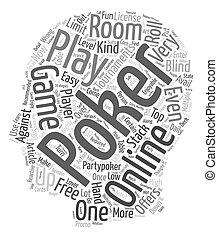 online poker text background wordcloud concept