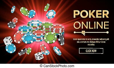 Online Poker Vector. Gambling Casino Banner Sign. Explosion Chips, Playing Dice. Jackpot Casino Billboard, Signage, Marketing Luxury Banner, Poster Illustration.