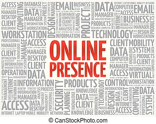 Online Presence word cloud collage, technology business...