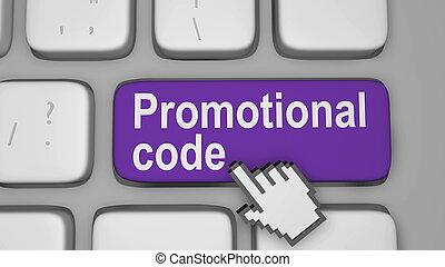 Online promotional code key. Render illustration.