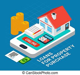 Online Property Purchase Composition - Loans isometric ...