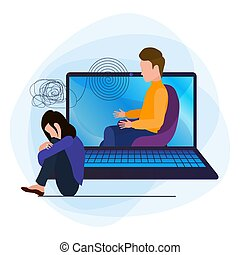 Online psychological help, helpline. A depressed woman with confused thoughts in her head, talking to a psychologist. A young sad girl sits by a laptop and hugs her knees unhappily.