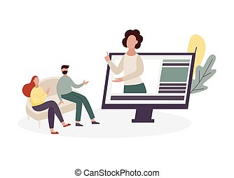 Online psychologist and couples therapy session - virtual therapist woman doing marriage counseling to cartoon people at home from screen, isolated vector illustration.
