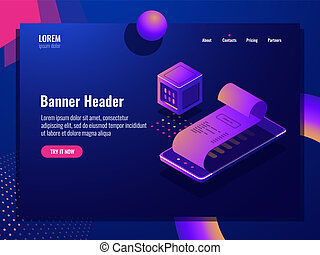 Online purchase isometric icon, payment receipt, electronic...