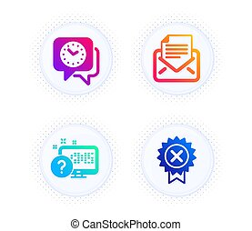 Online quiz, Clock and Mail correspondence icons set. Reject medal sign. Web support, Time, E-mail newsletter. Vector