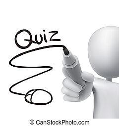 online quiz written by 3d man over white