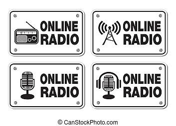 online, rádio, -, retângulo, sinais
