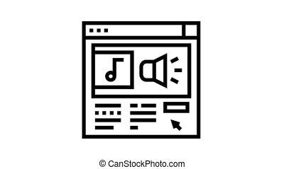 online radio animated black icon. online radio sign. isolated on white background
