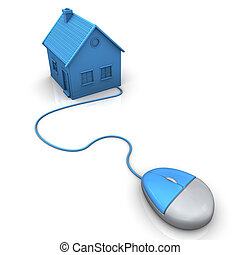 Online Realtor - Blue house with pc mouse. White background.