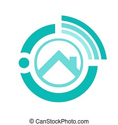 Online realty logo vector design. House seller from internet logo vector