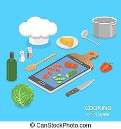 Online recipes flat isometric vector concept.