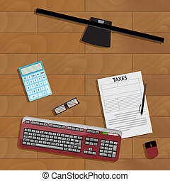 Online registration of tax form. Taxation financial paperwork, keyboard and computer. Vector illustration