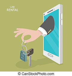 Online rental car service flat vector concept.