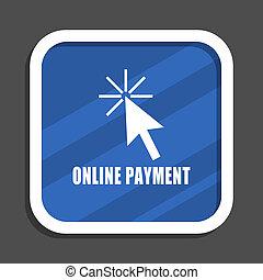 Online reservation blue flat design square web icon