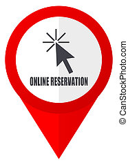 Online reservation red web pointer icon. Webdesign button on white background.